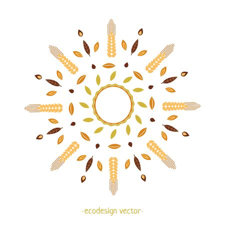 Vector ornament from Wheat Ears leaves and seed. Eco design round pattern. Vector Decorative Borders Design. Logo design template, icons and badges for natural and organic product in linear style.