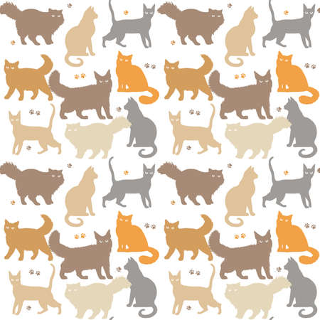 Cat seamless pattern. Kitten vector isolated background. Funny cats different breeds color pattern. Great for fabric, textile Vector Illustration.