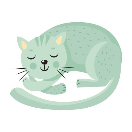 Cute sleeping cat on white background. Cartoon Animal character vector in flat style. Domestic pet resting. Sweet home concept flat vector illustration.