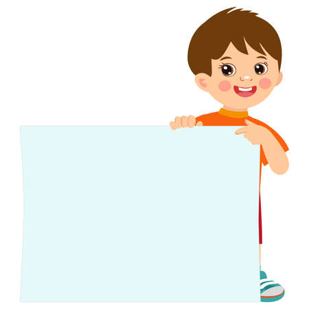 Cartoon boy holding empty blank board with space for text vector illustration. Happy kid holding white horizontal board.