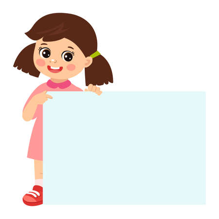 Cartoon girl holding empty blank board with space for text vector illustration. Happy kid holding white horizontal board.