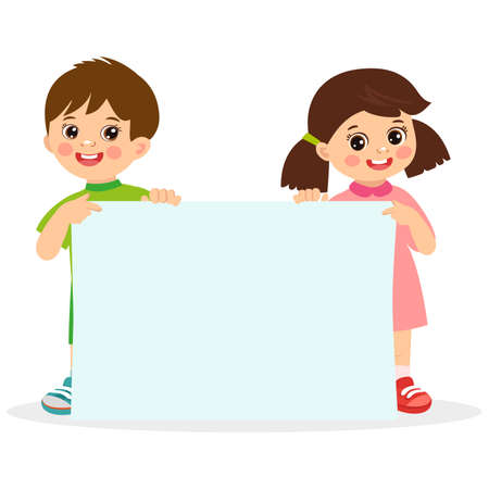 Kids holding empty blank board with space for text vector illustration. Happy boy and girl holding white horizontal board.