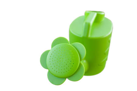 Green Plastic Watering Can Isolated on White Stock Photo
