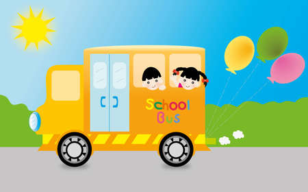 School bus on the road Stock Vector - 13578394