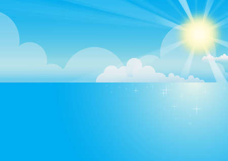 The Sea and sky Background by illustrator Vector
