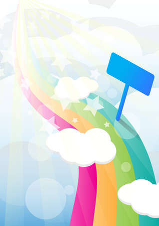 Rainbow pathway  colorful on heaven Background and guide post  Vector