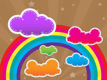 Colorful design with clouds and a rainbow in the background and wallpaper Vector