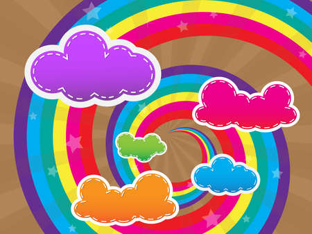 Colorful design with clouds and rainbows background and wallpaper Stock Vector - 13739172
