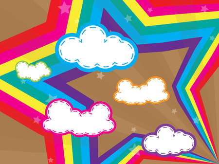 Colorful design with clouds and rainbows star background and wallpaper