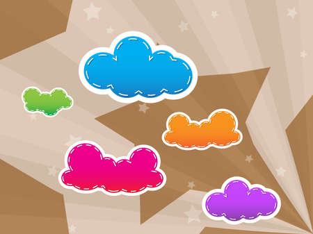 Colorful design with clouds and star on background and wallpaper