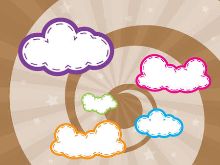 Colorful design with clouds background and wallpaper