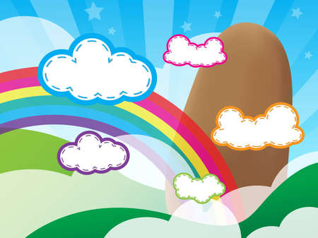 Mountains and clouds with a rainbow on the background and wallpaper Illustration