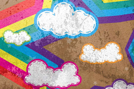 Colorful design with clouds and rainbows star on cement background and wallpaper photo