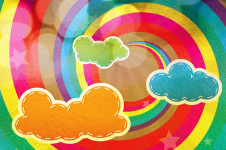 Colorful design with clouds and rainbows for background and wallpaper