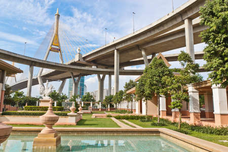 King Bhumibol Bridge in bangkok from Thailand  photo