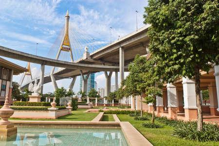 bhumibol: King Bhumibol Bridge in bangkok from Thailand  Stock Photo