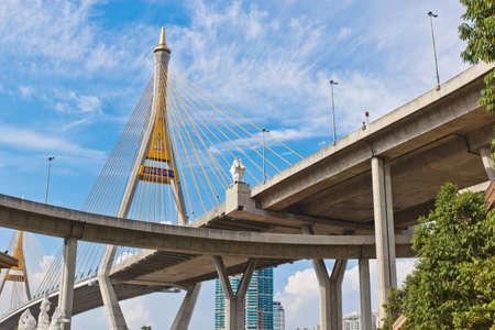 King Bhumibol Bridge in bangkok from Thailand  Stock Photo