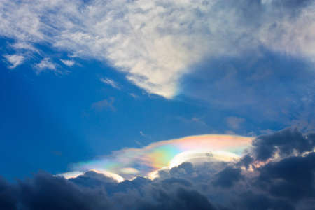 Beautiful Iridescent Cloud on sky