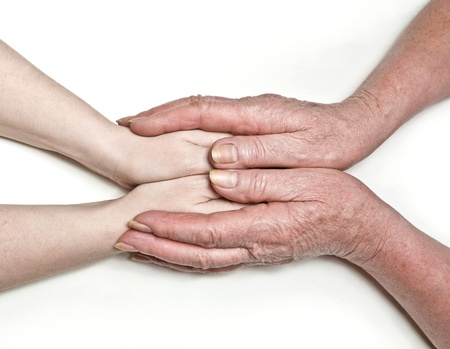 the hands of mother guard the hands of daughter carefully Stock Photo - 9326156
