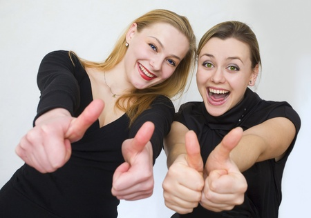 Two girls are joyful and happy photo