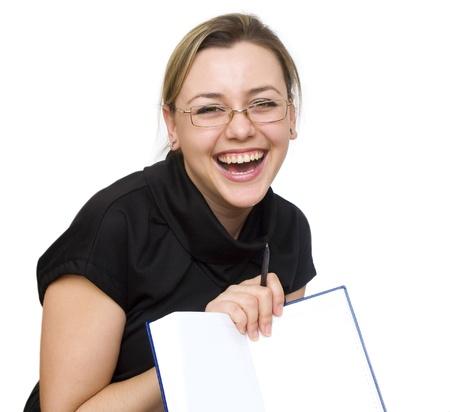 decide: una ni�a con un libro decide las tareas de negocio