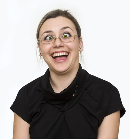 funny glasses: a girl spectacled looks with the dumbfounded kind Stock Photo
