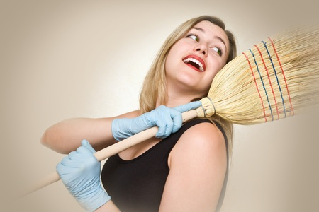 sexy housewife: Attractive and sexy housewife is going to fight dirty Stock Photo