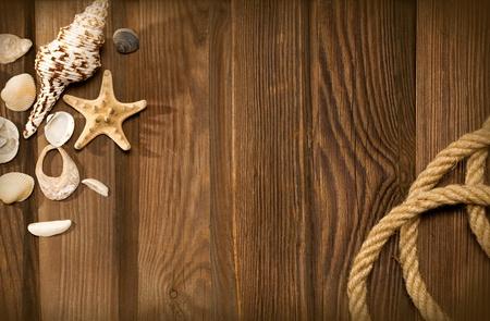 fixed line: cuerda y conchas en la madera de fondo degradado Foto de archivo