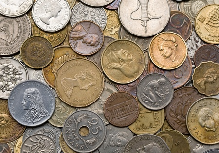 background of the coins of different countries photo