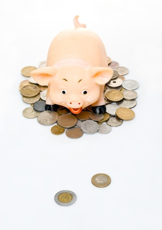 Clay piggy bank on a pile of coins photo