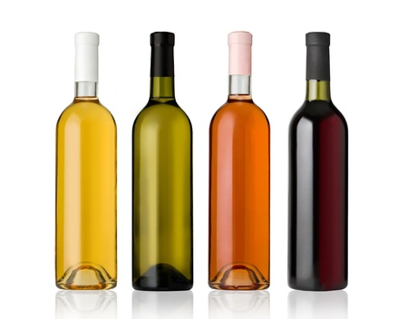 Set of white, rose, and red wine bottles.isolated on white background photo