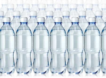 Bottles of water on the white