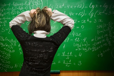 confused woman: Student being examinated from math Stock Photo