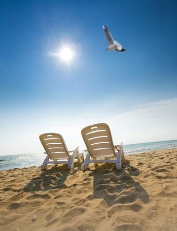 panorama beach: L'immagine attraente di due sedie e uccelli sulla spiaggia Archivio Fotografico