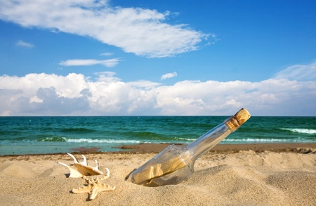 castaway: Message in a bottle on an isolated beach