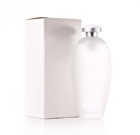 prettify: White cosmetic bottle and box - isolated Stock Photo