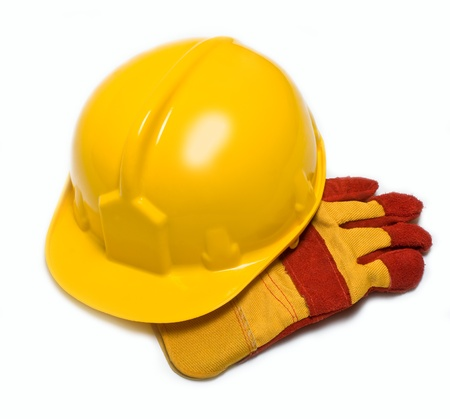 construction helmet and gloves on a white background photo