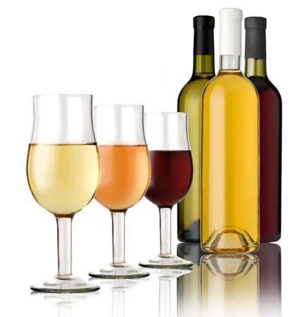 muscadet: 3 Glass  and 3 bottles wine on a white background  Stock Photo