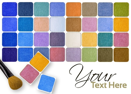 Palette of colorful eye shadows and brushes multicolour background Stock Photo - 12248480