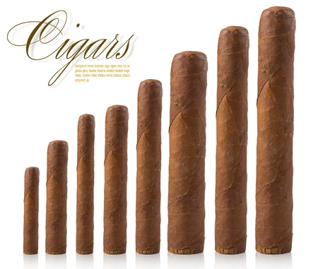 cigars: isolated cigars all sizes on a white background