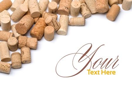corcho: corchos de vino conjunto aislado en blanco con copia spase Foto de archivo