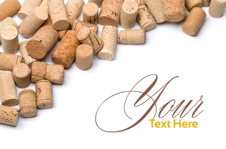 wine stains: wine corks set  isolated on white with copy spase Stock Photo