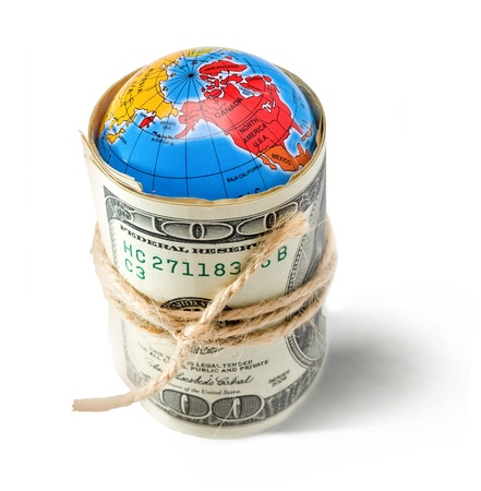 www concept: money taken over the world into a tight knot