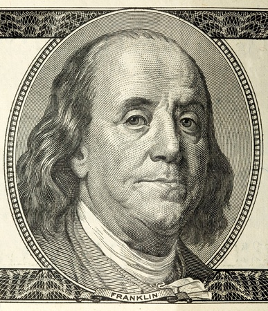 franklin: close-up portrait of Franklin with hundred dollar bills