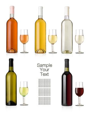 bouteille de vin: Jeu de blanc, rose, et des bouteilles de vin rouge et des lunettes. Banque d'images