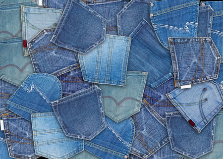 background of different jeans pocket