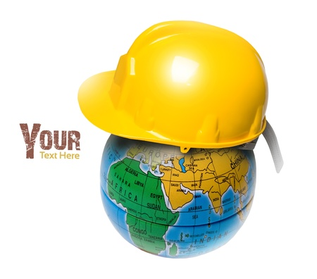 planet in the construction helmet, isolated concept Stock Photo - 12458370