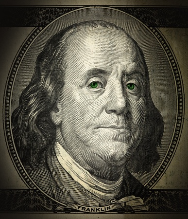benjamin franklin: a portrait of Franklin in the grunge style close-up, with green eyes