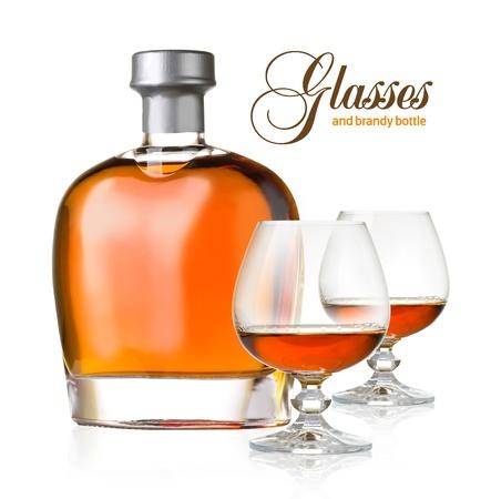 goblet: bottle and glasses brandy on white background