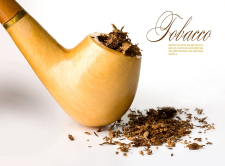 Smoking pipe with tobacco on white background Stock Photo - 12458558
